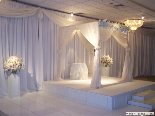 White dance floor, ceremony stage, chuppa